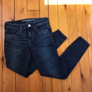 AEO Mid Rise Skinny Dark Wash Jeans